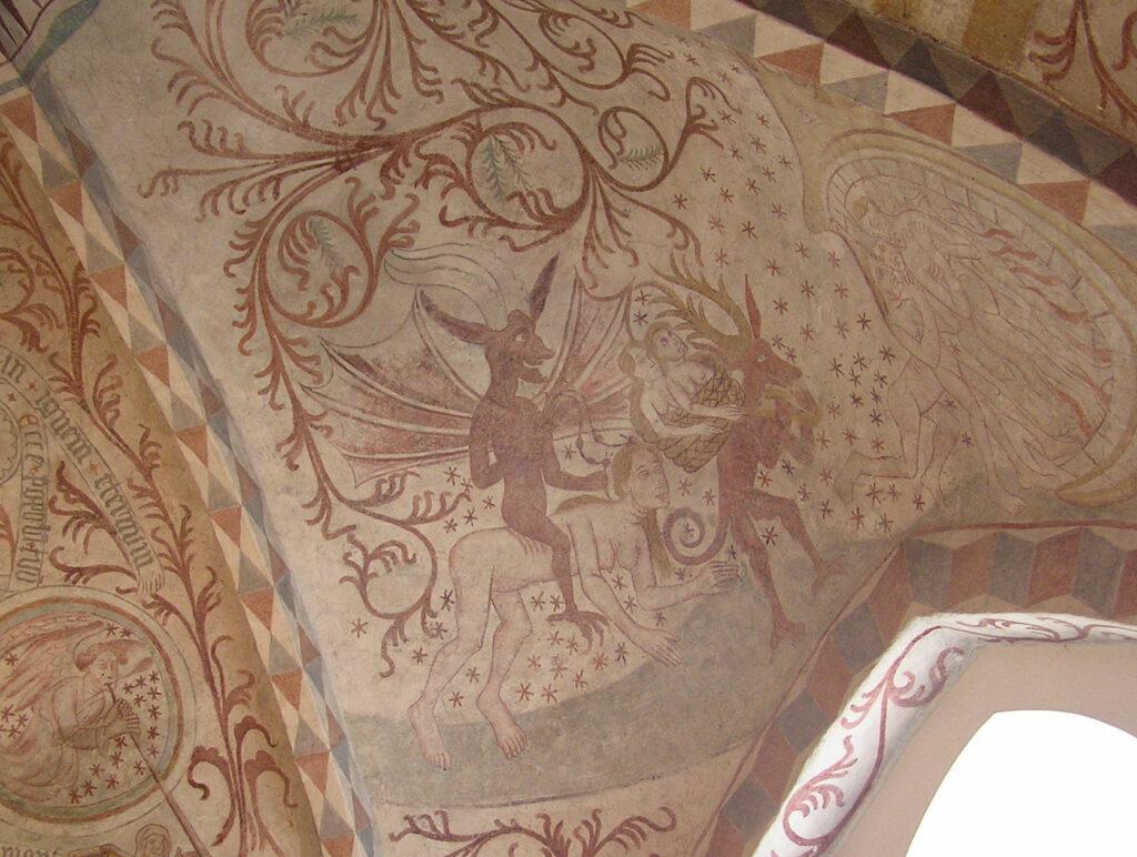 Fortabte sjæle fragtes af djævle mod Helvede på dommedag. Kalkmaleri fra 1425-1450 fra Højelse Kirke. -- ...